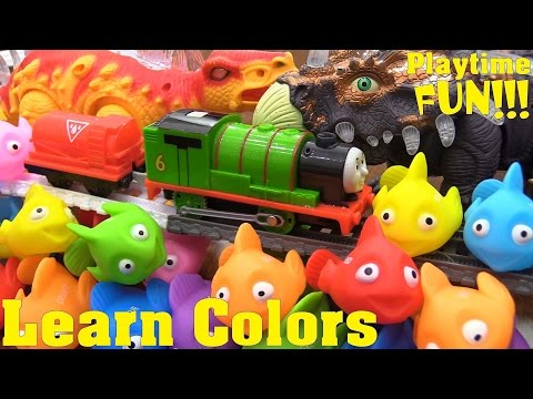 Educational Toy for Toddlers: Learn Colors. Thomas & Friends Trackmaster Trains and Dinosaur Toys