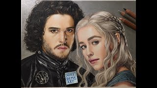 Game of Thrones portrait of Jon and Daenerys