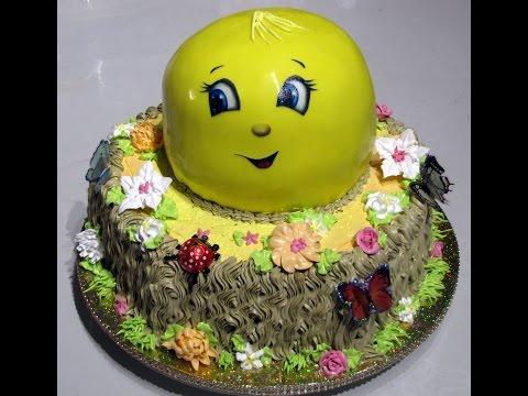 торт Колобок на пеньке.