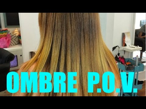 Ombre Hair Color Technique - Point Of View Video - Hand Painted Hair Highlighting