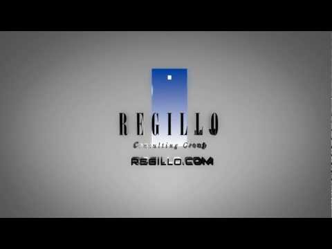 Regillo Consulting Group Logo 3D Spinning with URL on Chrome Background