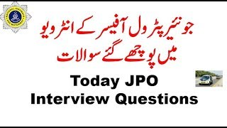 Today JPO Interview Questions Asking | Question ask in today Junior Patrol Officer Interview