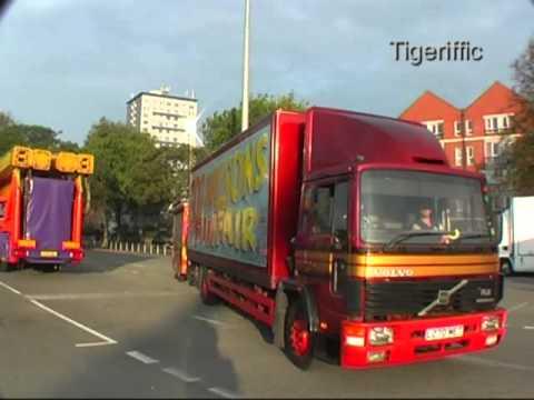 Fairground loads pulling on at Nottingham Goose Fair 2011
