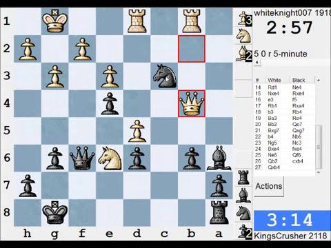 Chess World.net: LIVE Blitz #1176 vs whiteknight007 (1918) - Benoni: fianchetto variation (A62)