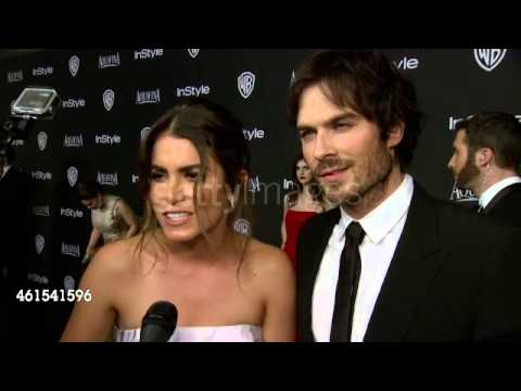 Nikki Reed with Ian Somerhalder on Interview - Golden Globe After-Party 2015
