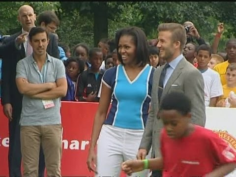 image vidéo David Beckham et Michelle Obama contre Bob l'éponge est le WTF du jour
