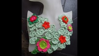 Freeform crochet bib necklace by Fibreromance