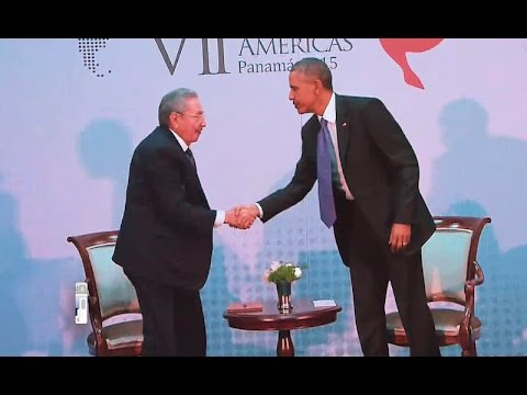 President Obama meets with President Castro of Cuba at the Summit of the Americas in Panama City, Panama. April 11, 2015.