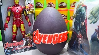 Giant Marvel Avengers Age of Ultron Play Doh Surprise Egg with Iron Man Mark 43 and Spiderman Toys