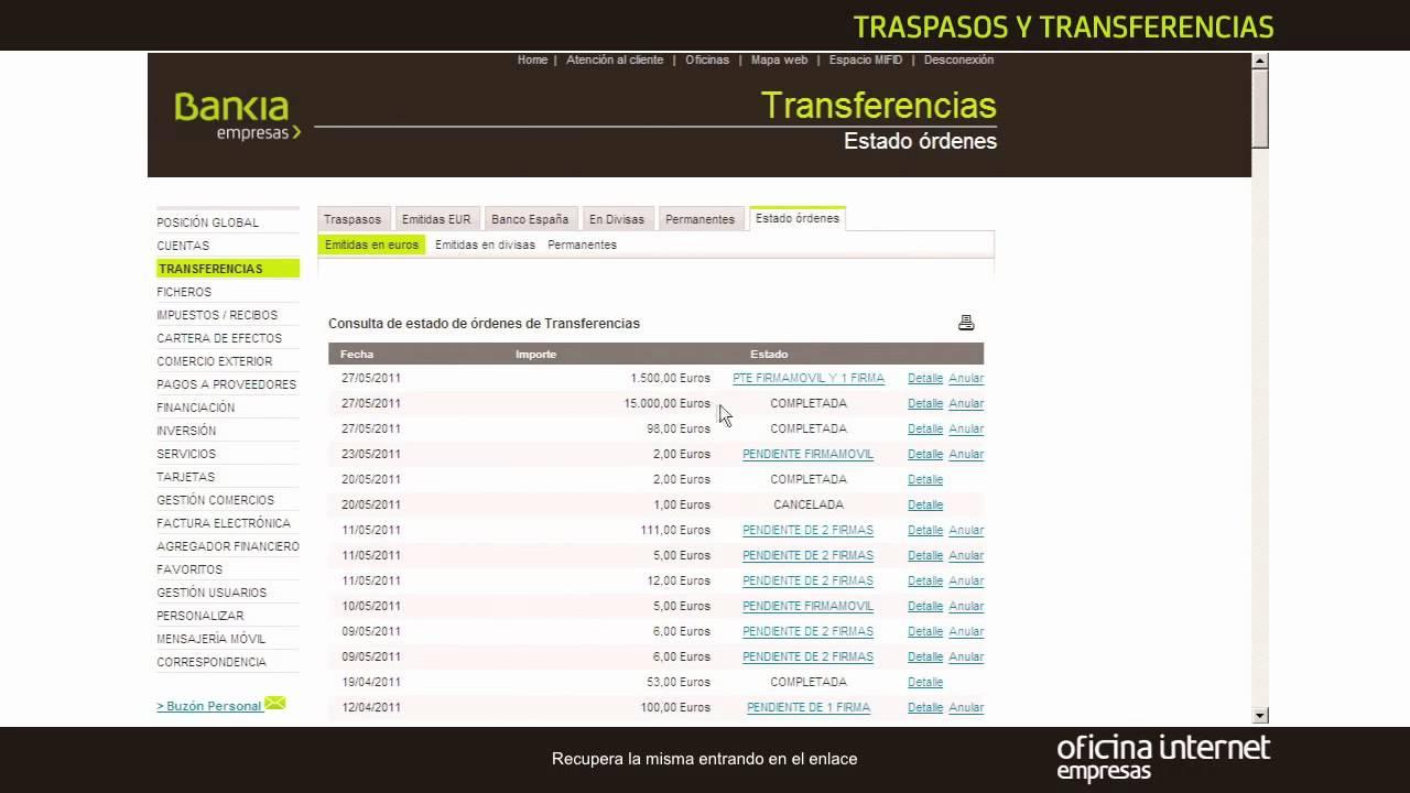 Bankia empresas traspasos y transferencias youtube for Bankia acceso oficina internet empresas