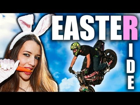 Motorcycle Stunts For The Easter Bunny