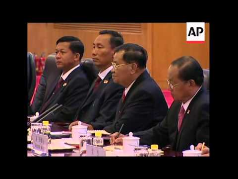 Visiting Myanmar's leader Than Shwe holds talks with Chinese president