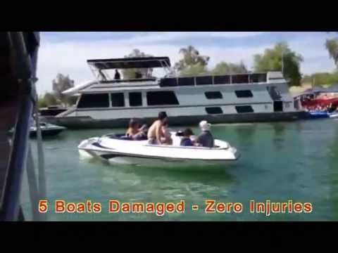 Lake Havasu City, AZ - Windblown Houseboat in Thompson Bay wrecks 5 beached boats