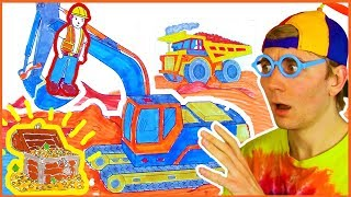 Construction Vehicles Coloring Page - How to Color Big bulldozer, dump truck, excavator for kids