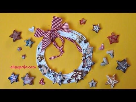 DIY, Cómo hacer una Corona de Estrellas, Christmas Wreath, Stars Wreath.