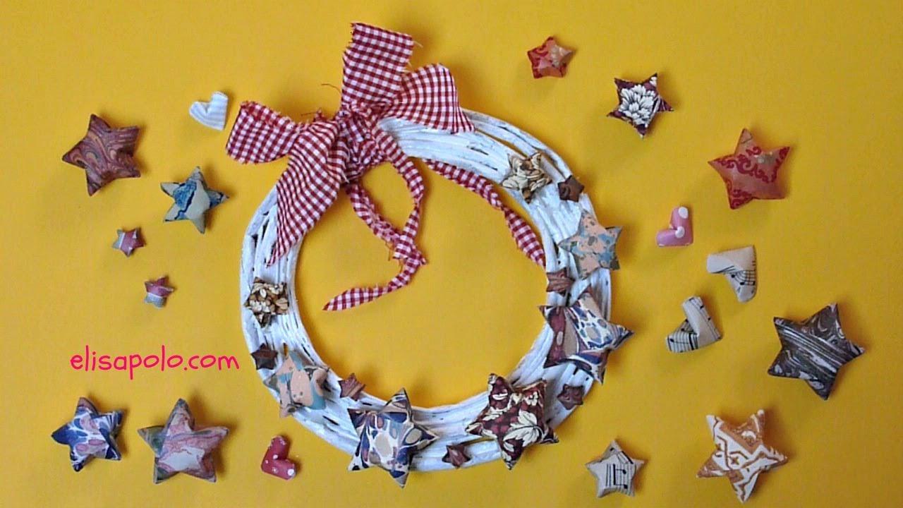 Diy c mo hacer una corona de estrellas christmas wreath - Como hacer coronas de navidad ...