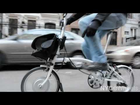 Electric Brompton bike, most compact electric folding bicycle