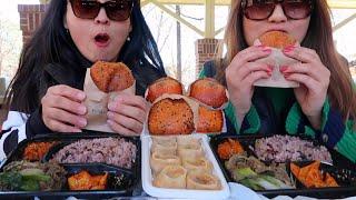 KOREAN FOOD PICNIC FEAST MUKBANG (BEEF BULGOGI, MANDU, CURRY CROQUETTE, KIMCHI) | Kim&Liz Too