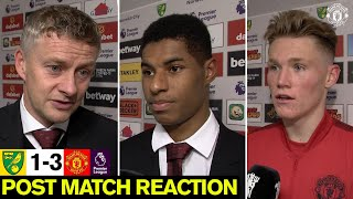 Solskjaer, McTominay & Rashford react to Carrow Road win | Norwich City 1-3 Manchester United