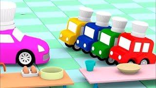 Dessin animé éducatif de 4 voitures colorées : Voitures - boulangers