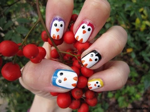 Colorful Penguin Nail Art