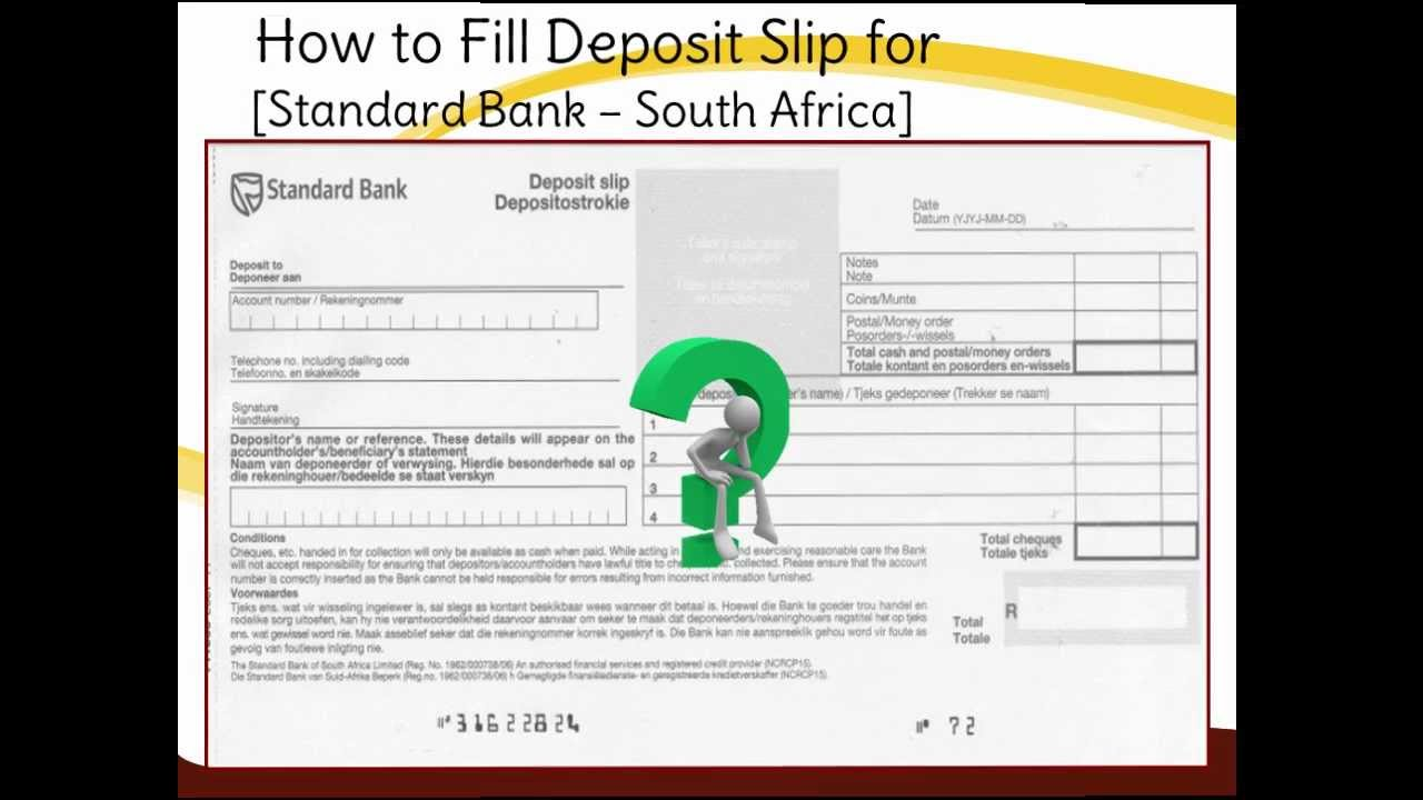 sa-how to fill standard bank deposit slip