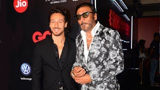 Tiger Shroff With Father Jackie Shroff At GQ Best Dressed Awards 2017 Red Carpet