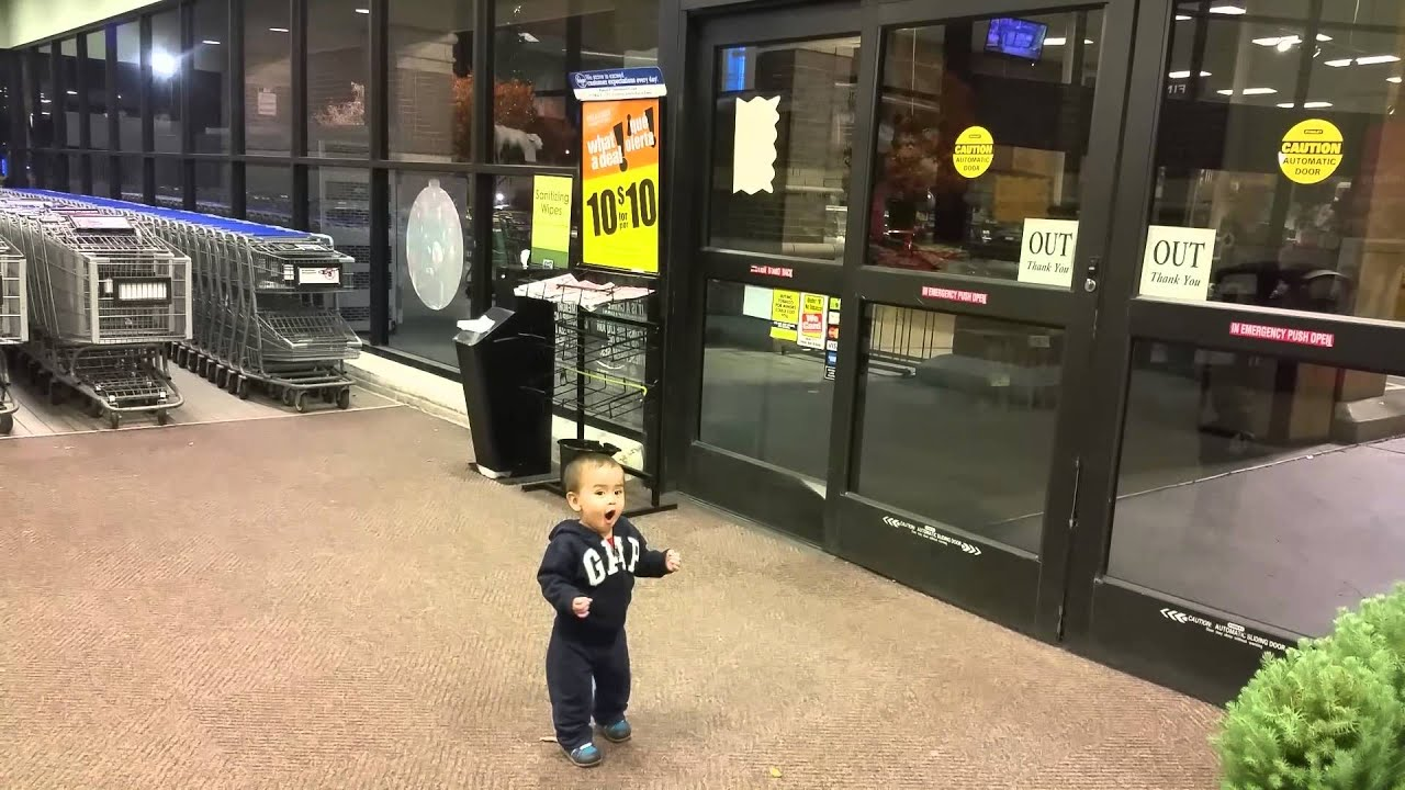 Mind Blown! Toddler Flabbergasted By The Magic Of Automatic Sliding Doors