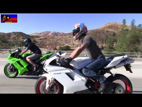 DUCATI 848 EVO & Kawasaki NINJA ZX-6R Riders on the Freeway/Highway