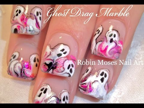 2 Nail Art Tutorials | DIY Halloween nails | No Water marbling & PINK GHOST Design!!!