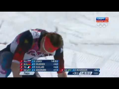Зимние Олимпийские Игры. Сочи-2014. Лыжные гонки 50 км. Мужчины. Финишная прямая.