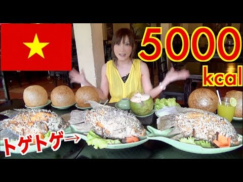 【MUKBANG】 [IN Vietnam] 26 Elephant Fish Spring Rolls & 5 Unique Rice balls!! About 5000kcal[Use CC]