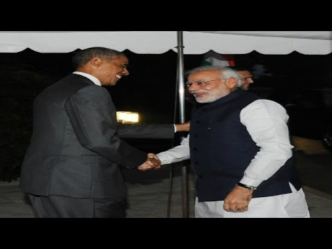 US President Barack Obama welcomes Narendra Modi at White House