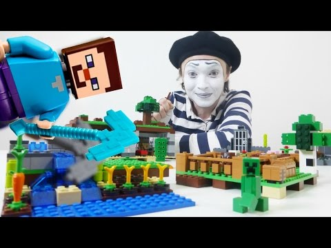 Funny video. Funny mime in Minecraft LEGO city