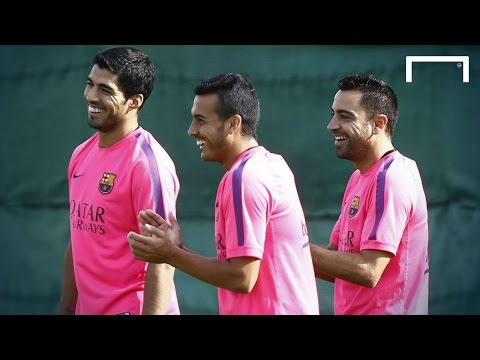Suarez's first Barcelona training session