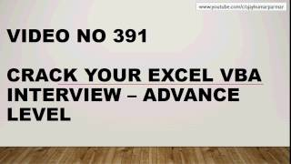 Learn MS Excel - Video 391- VBA - Amazing Interview - MIX subjects