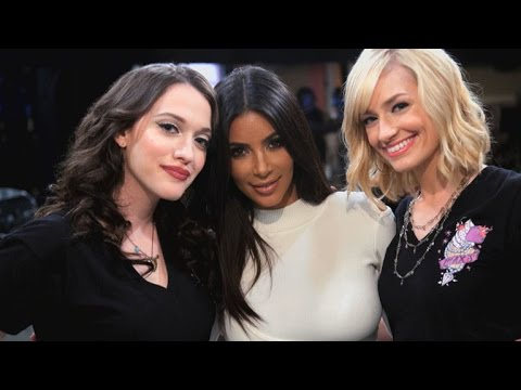Here's a Behind the Scenes Look at Kim Kardashian on '2 Broke Girls'