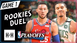 Jayson Tatum vs Ben Simmons Rookies Game 1 Duel Highlights 2018 Playoffs - 28 Pts for Tatum