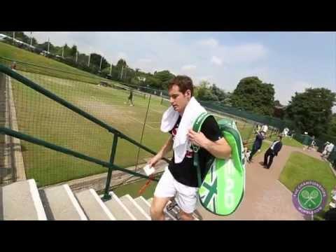Andy Murray's practice court focus - Wimbledon 2014
