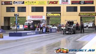 RUSSELL MILLS TOP ALCOHOL DRAGSTER 5.63 @ 250 MPH SYDNEY DRAGWAY 27.11.2014
