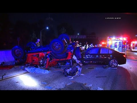 91 Freeway Triple Fatal Accident GRAPHIC / Artesia RAW FOOTAGE