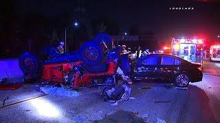 91 Freeway Triple Fatal Accident GRAPHIC / Artesia RAW FOOTAGE