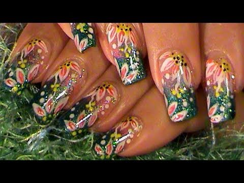 Tropical Flowers Green & Pink Ombre Gradient Nail Art Design Tutorial ...