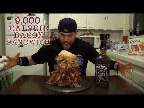 L.A. BEAST vs 9000 Calorie BACON Sandwich (Human Science Experiment)