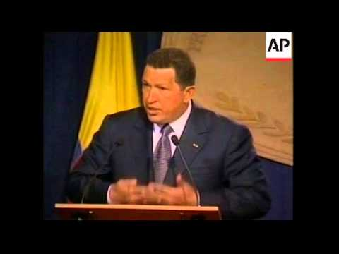 President Chavez downplays tensions during visit