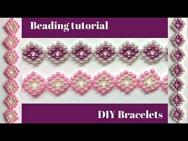 Beaded pearl bracelets. Beading pattern. Easy beading idea.