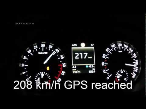 New Skoda Octavia 3 2013 1.6 TDI - acceleration 0-190 km/h + Vmax test
