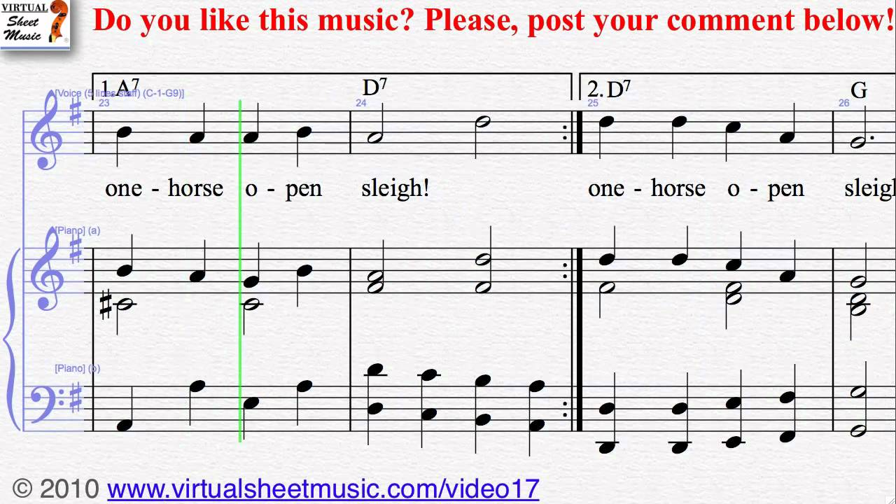 Jingle Bells voice and piano Sheet Music - Video Score - YouTube