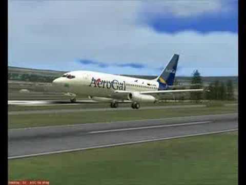 FS2004 Aerogal B732 pousando em Tulcan