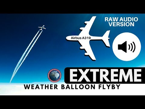 RAW AUDIO | EXTREMELY close Airbus A319 flyby captured by GoPro on a High Altitude Weather Balloon